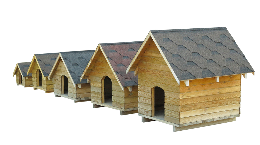 Fünf unterschiedlich grosse Hundehütten stehen nebeneinander.