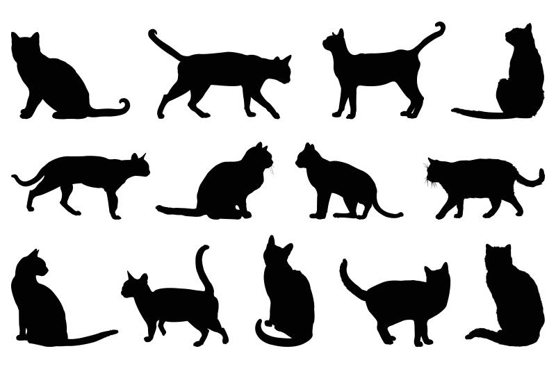 Unterschiedliche Silhouetten von Katzen